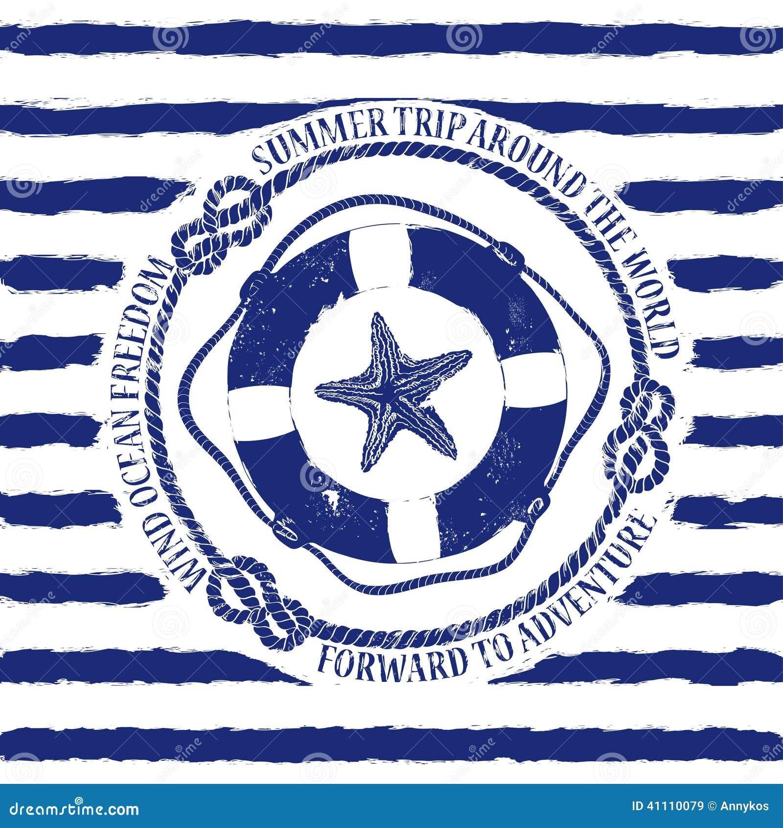 Emblema náutico com boia salva-vidas e estrela do mar