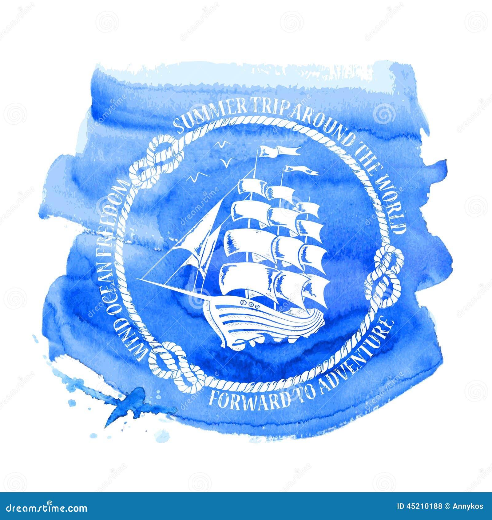 Emblema náutico con el velero