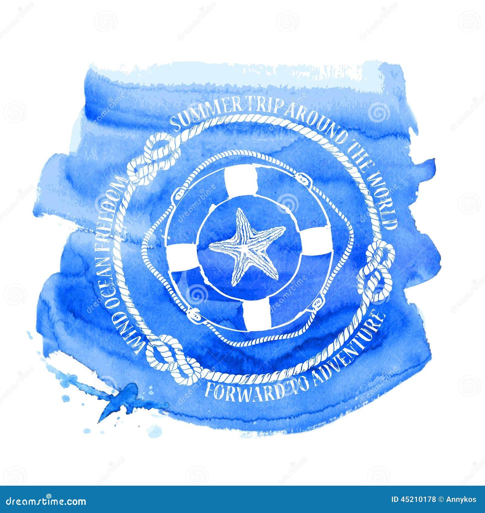 Emblema náutico con salvavidas y las estrellas de mar del compás