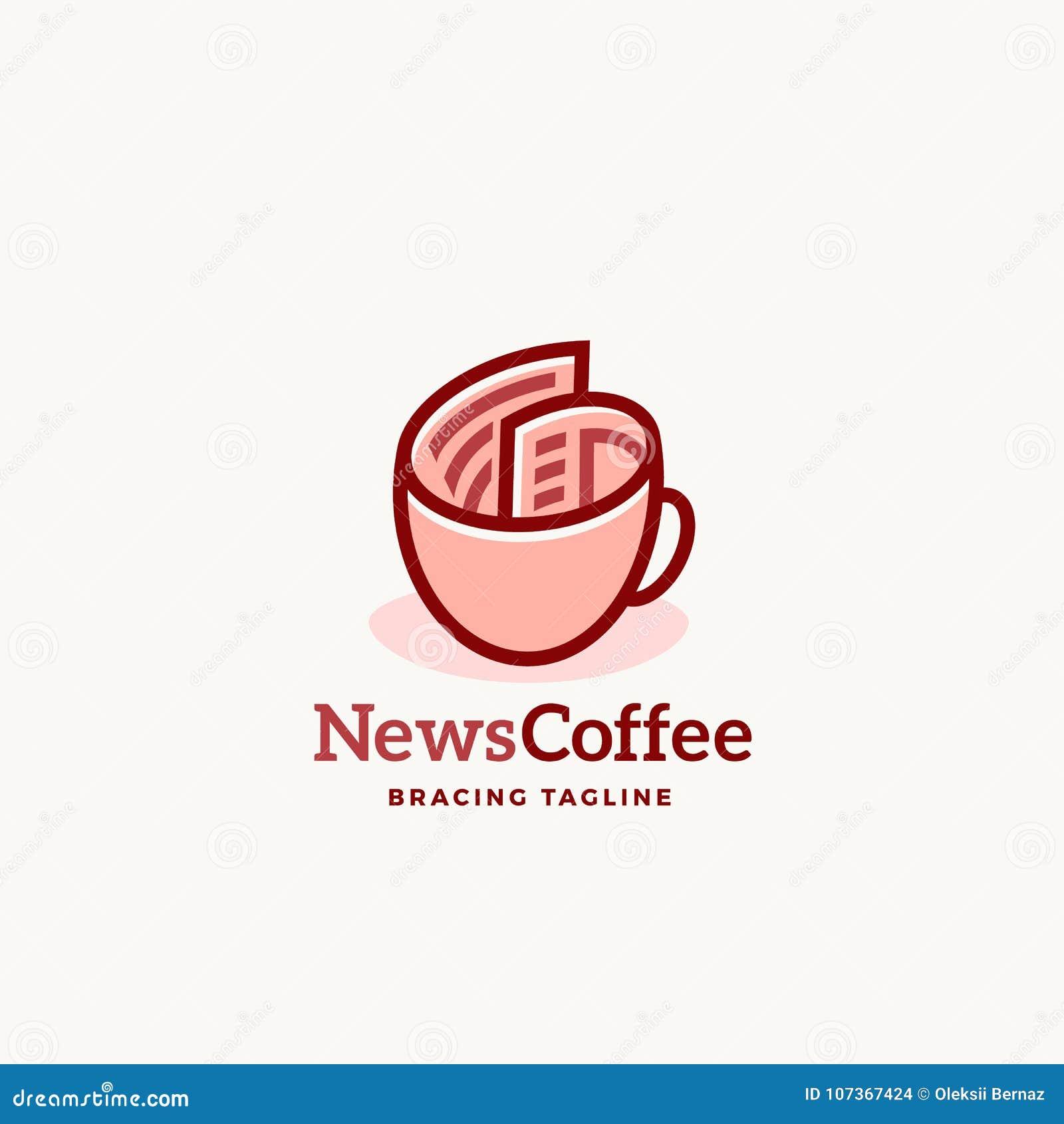 Emblema o Logo Template del segno di vettore dell estratto del caffè di notizie Rotolo del giornale come concetto della tazza di