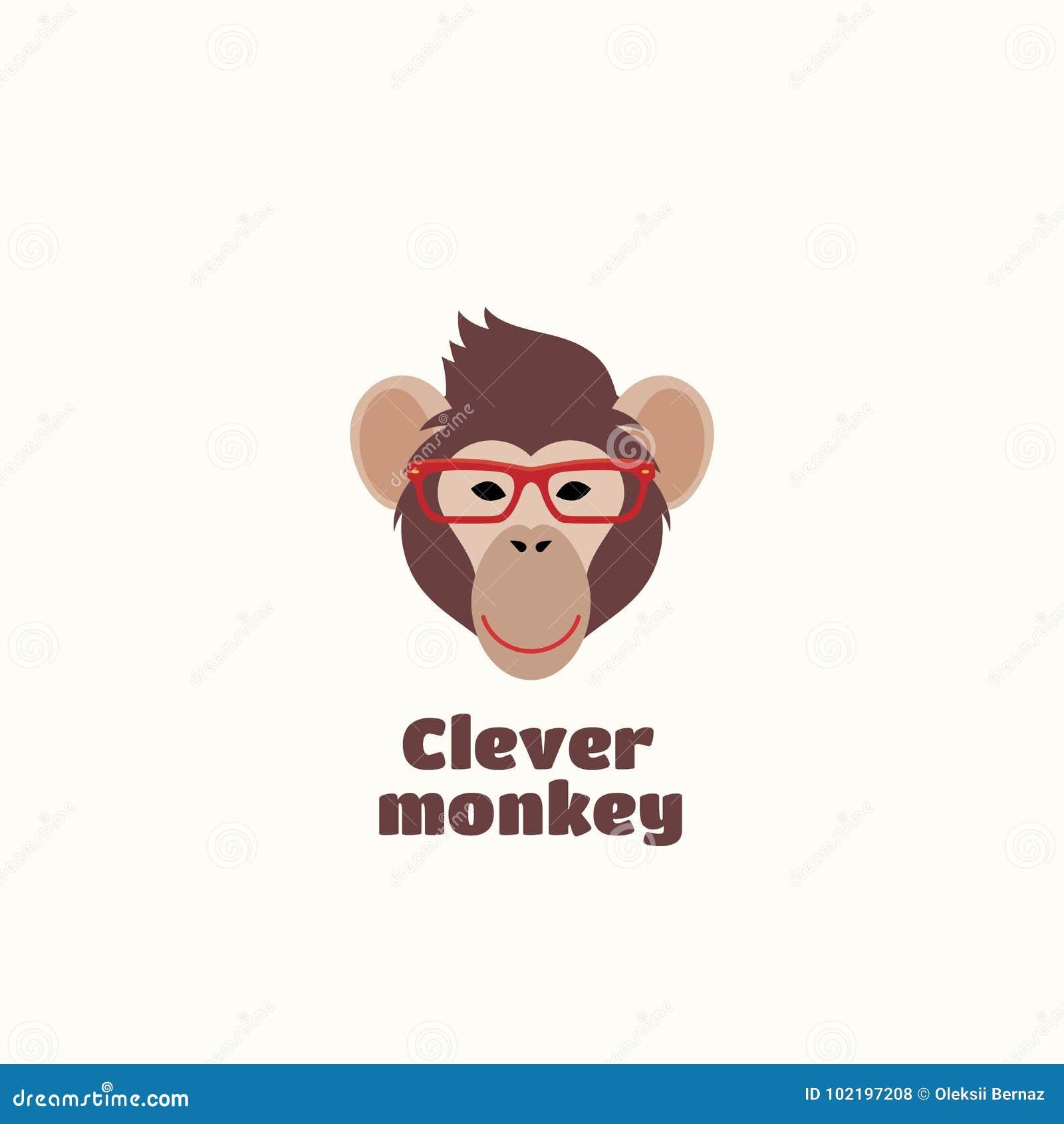 Emblema ou Logo Template inteligente do sinal do vetor do macaco