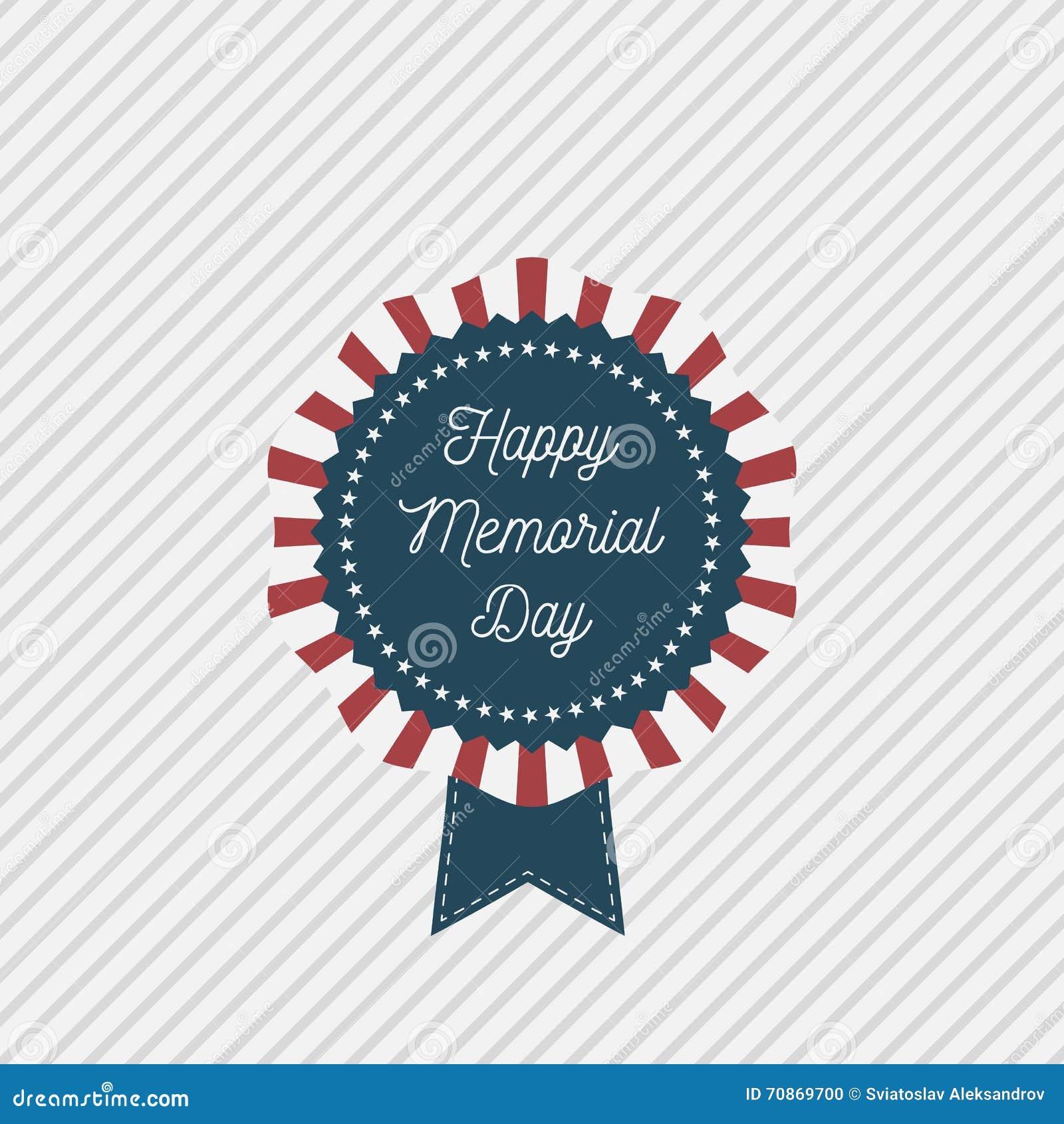 Emblema patriótico do vetor de Memorial Day com texto