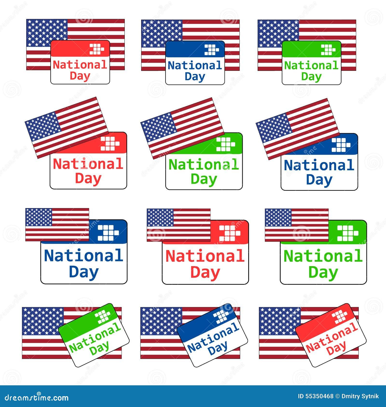 Emblema per tutti gli usi stabilito di festa nazionale degli S.U.A. di vettore con il calendario e