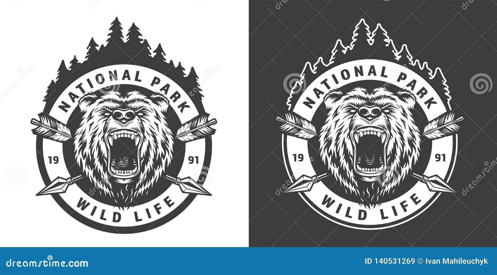 Emblema redondo monocromático do parque nacional do vintage