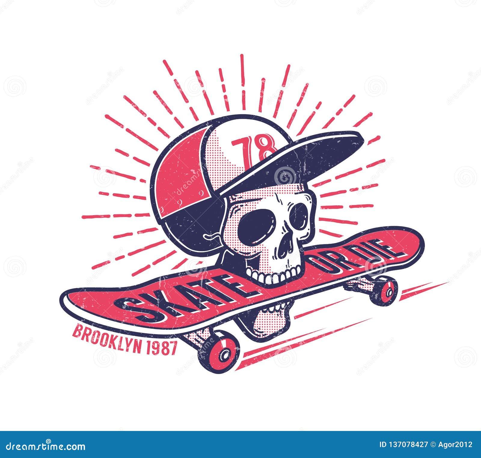 Emblema retro autêntico skateboarding da rua da juventude fresca com o crânio no boné de beisebol