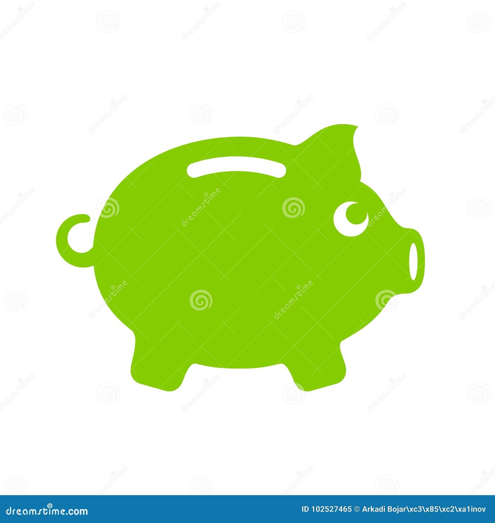 Emblema verde della banca dei soldi del maiale