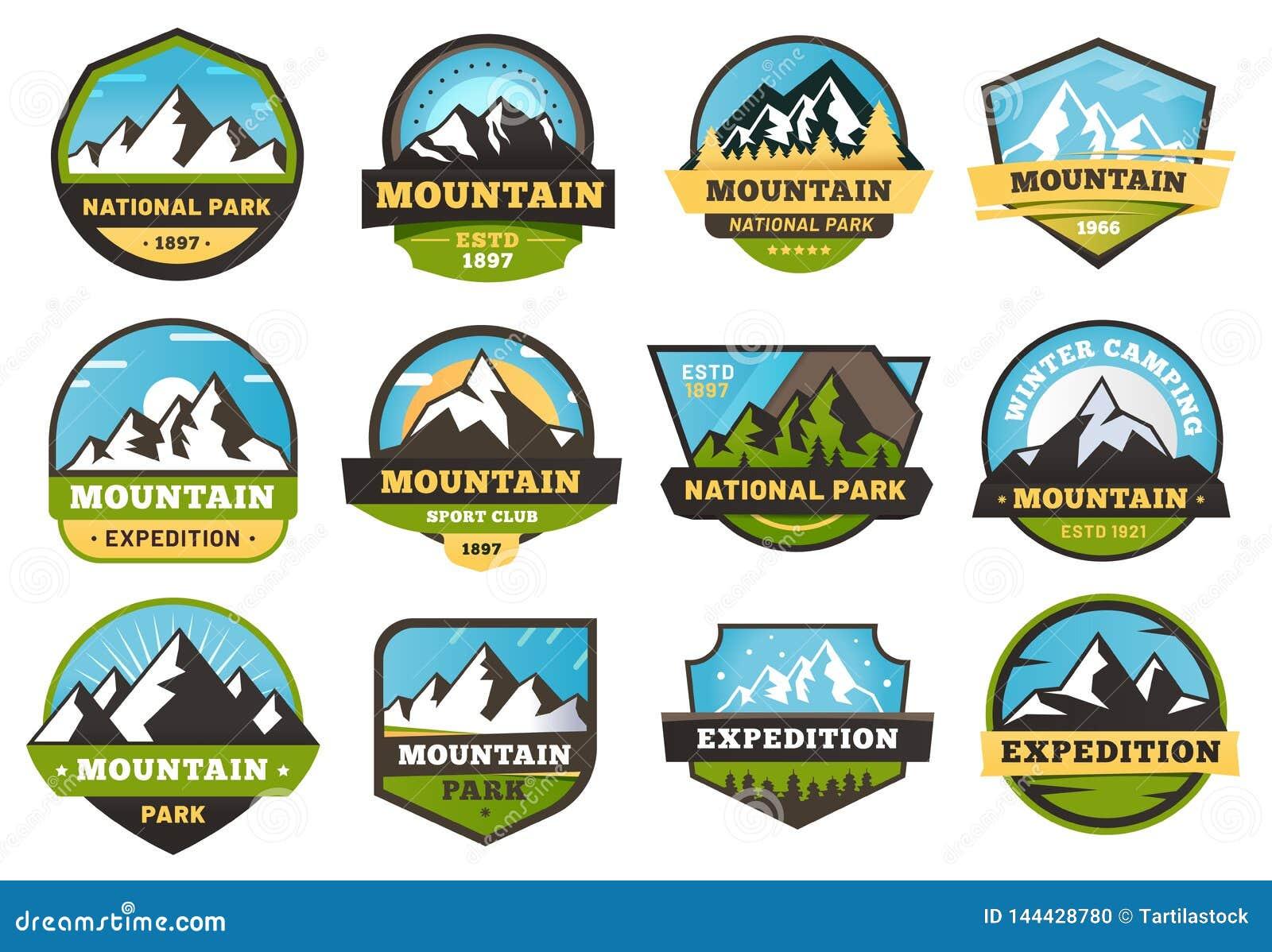Emblemas da expedição da montanha Etiquetas do curso do ar livre, montanhas que caminham o emblema da etiqueta e o vetor de acamp