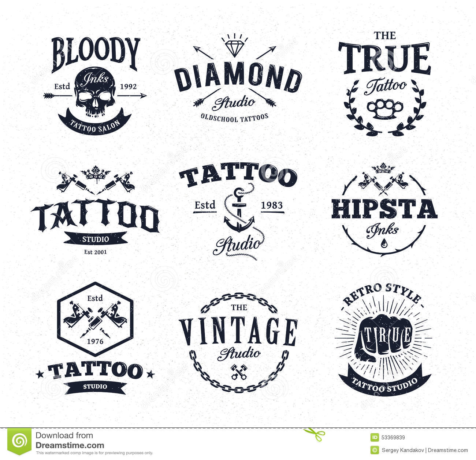 Emblemas Del Estudio Del Tatuaje Stock De Ilustración Ilustración