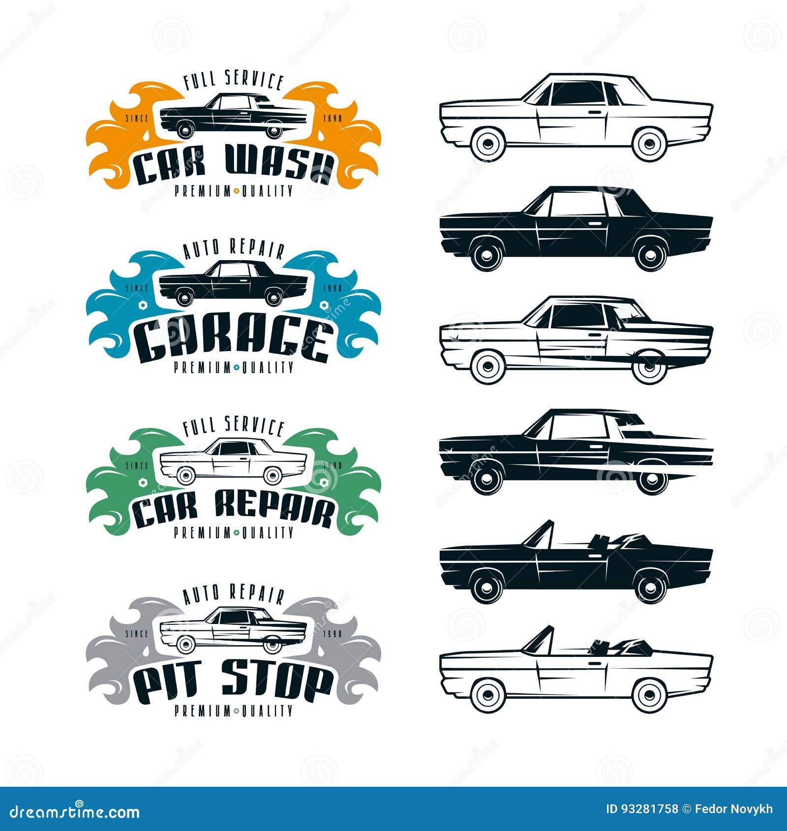 Emblemas do serviço do carro e elementos do projeto
