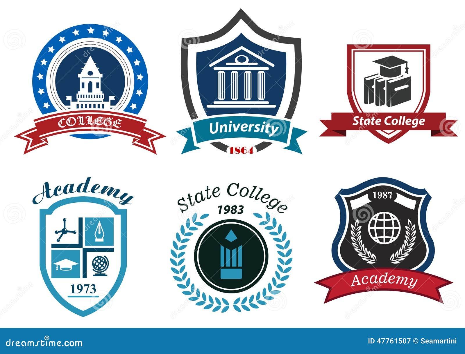 Emblemas heráldicos de la universidad, de la universidad y de la academia