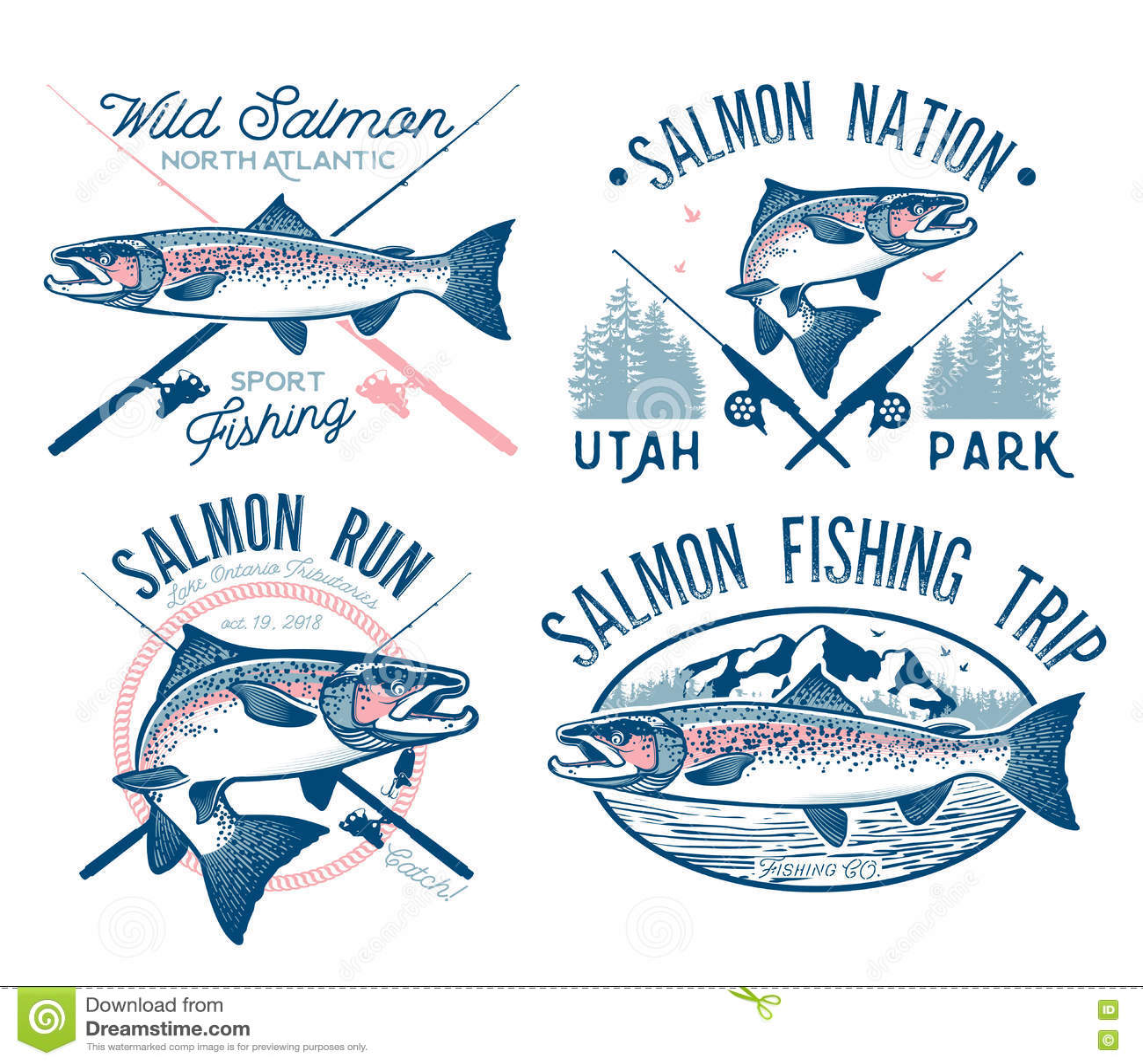 Emblemas salmon da pesca do vintage