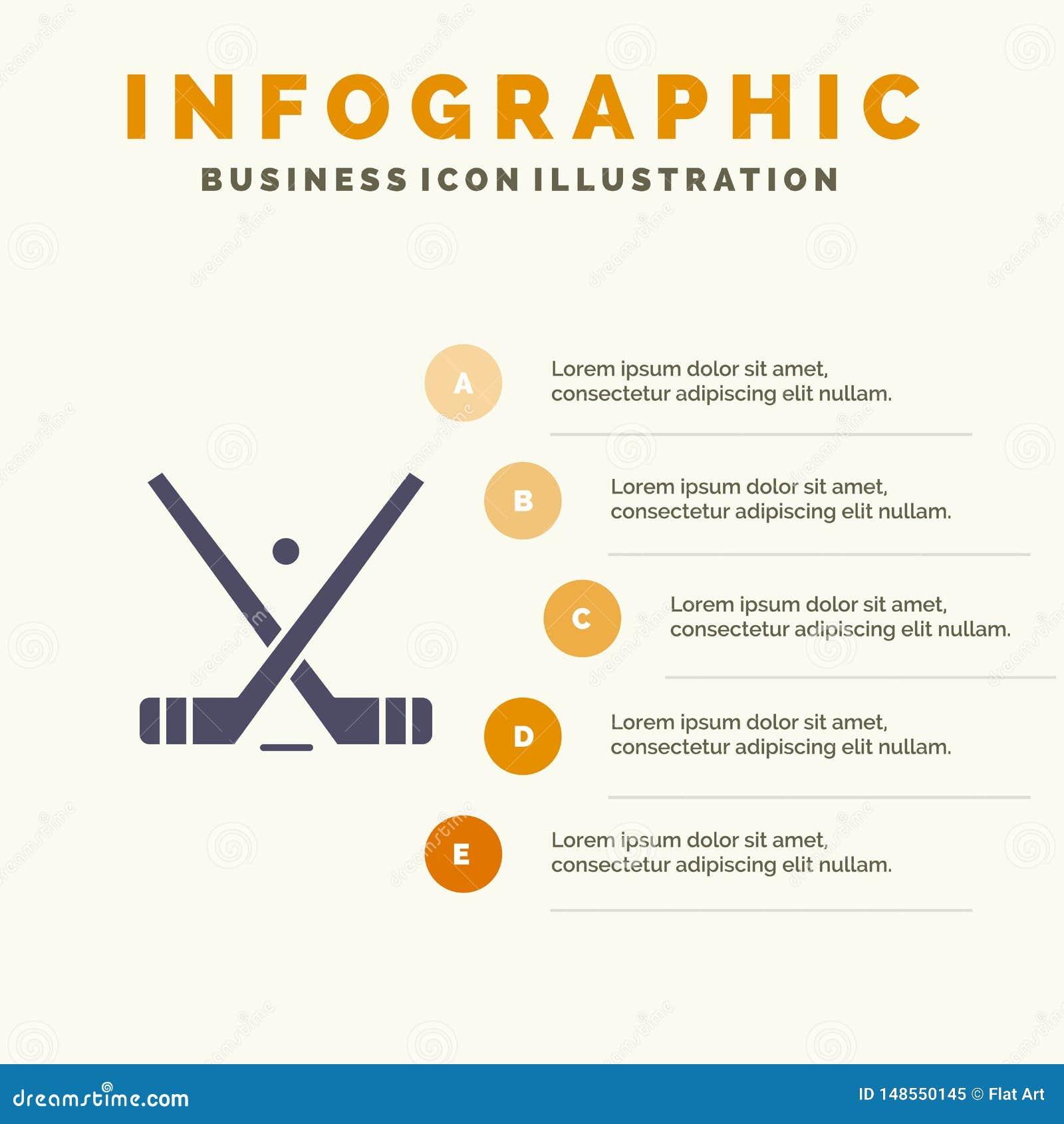 Emblemat, hokej, lód, kij, kij ikony Infographics 5 kroków prezentacji Stały tło