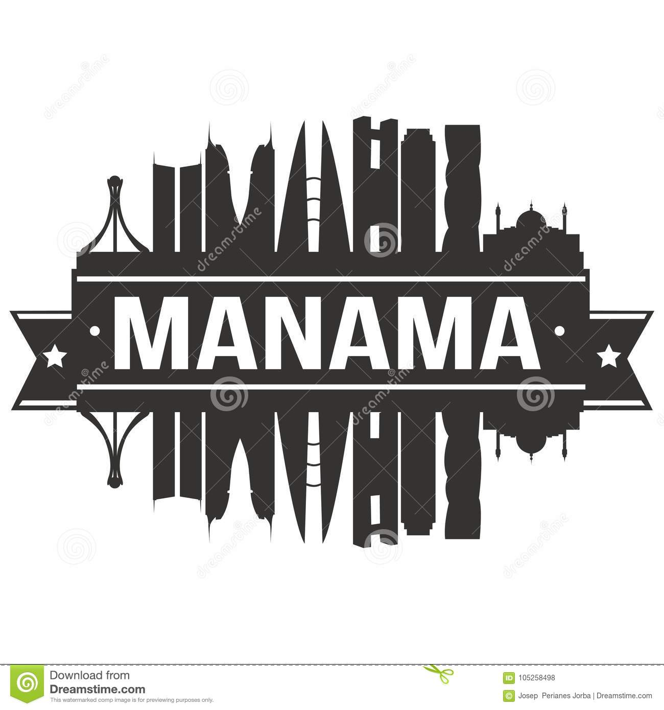 9d411775f0c2 Manama Bahrain Asia Icon Vector Art Design Skyline Flat City ...