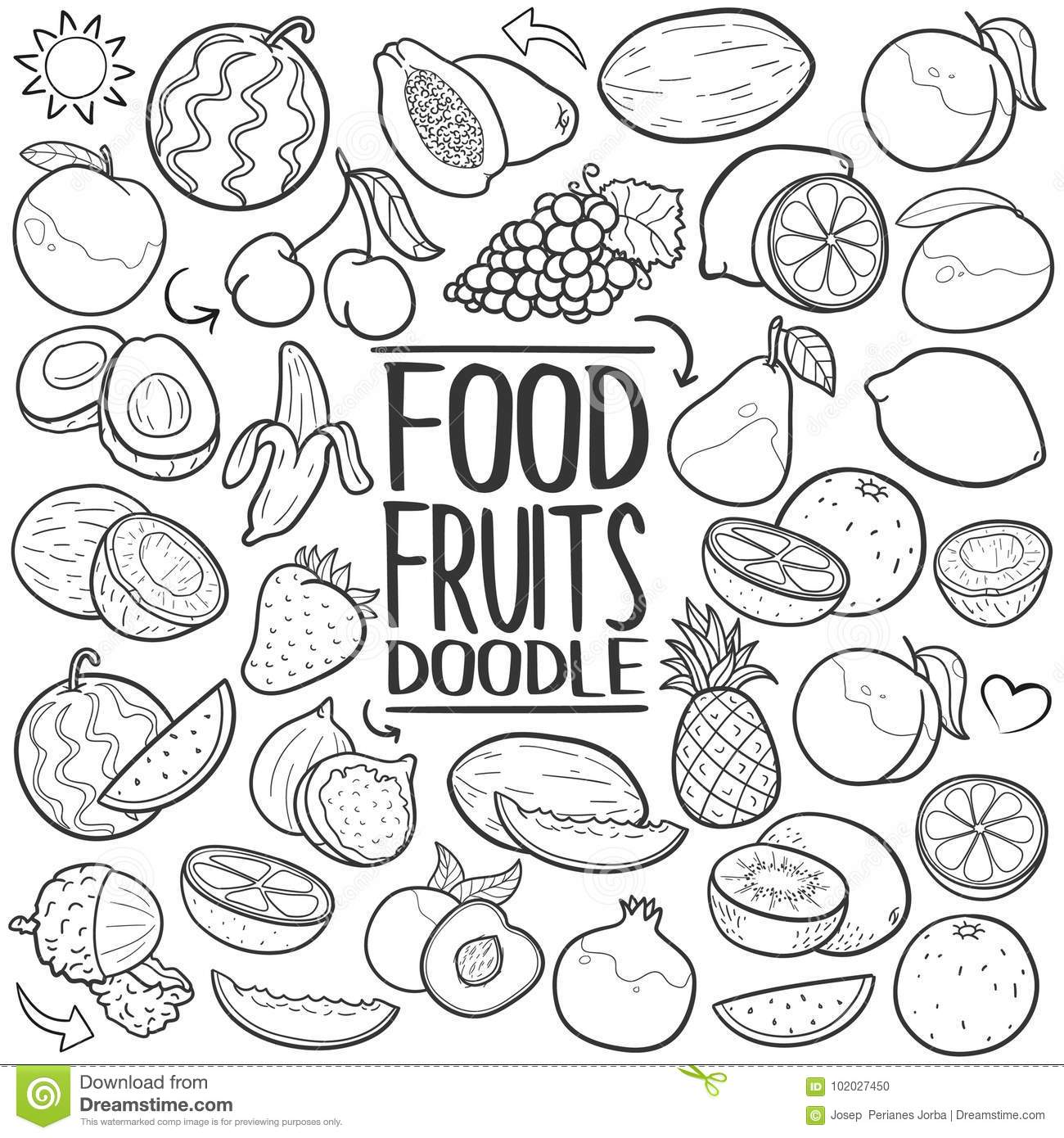 fruits vegetables healthy food traditional doodle icon hand draw set Food That Is Easy to Draw a emblematic elements of healthy fruits doodle style hand draw elements and objects set