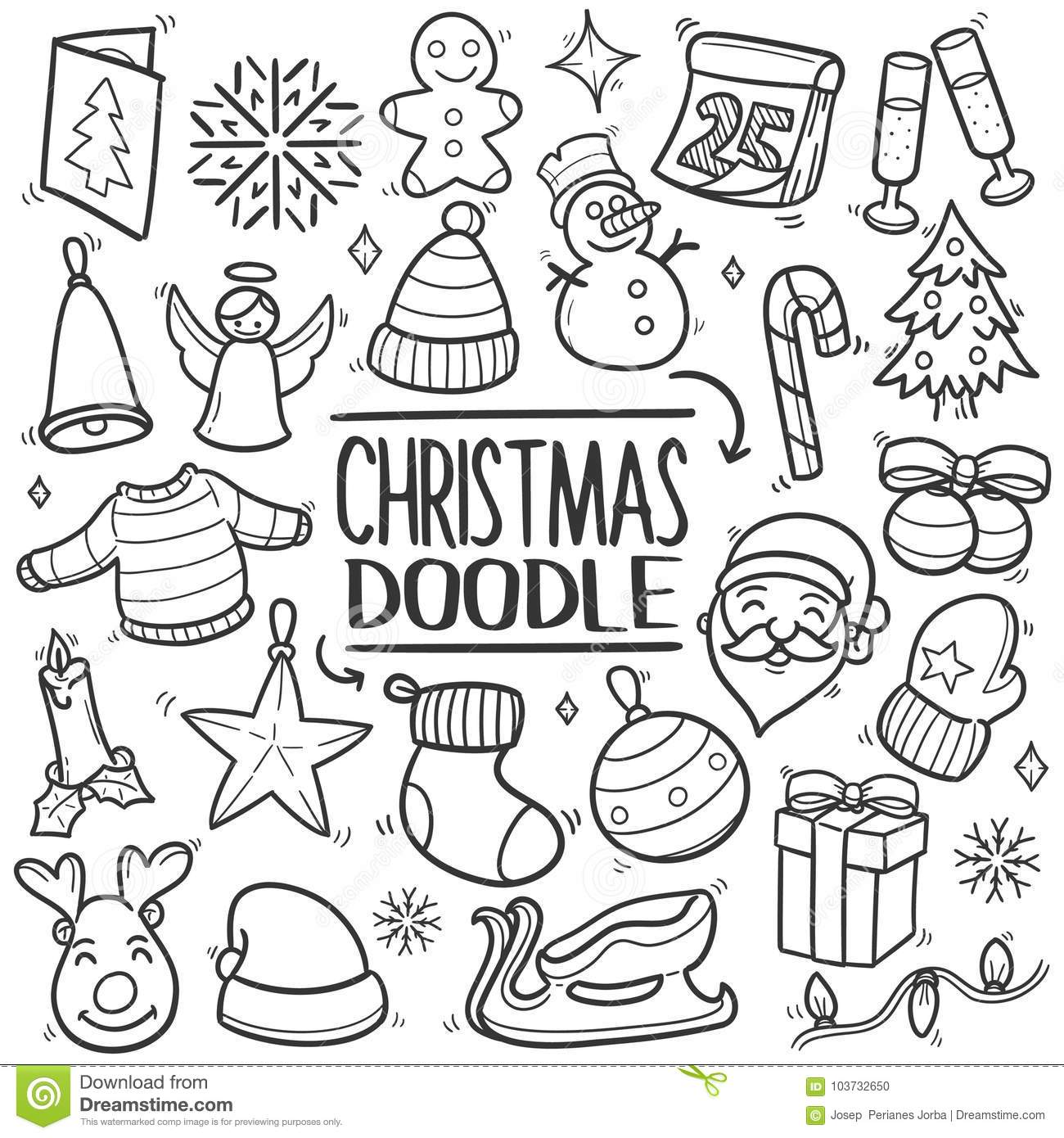 Christmas Drawing.Merry Christmas Traditional Doodle Icon Hand Draw Set Stock