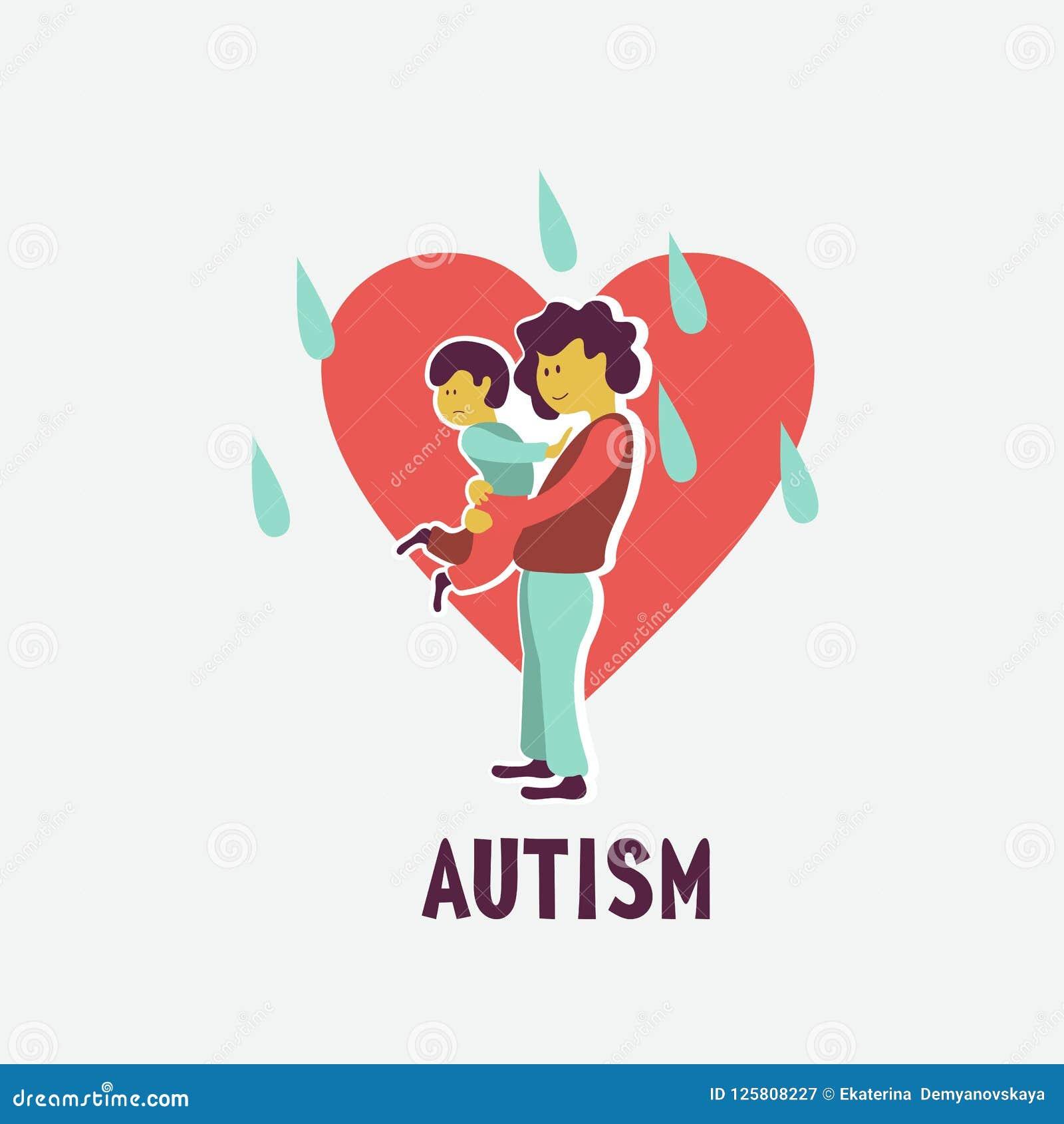 _ Emblemet av syndrommen av autism i barn Childr