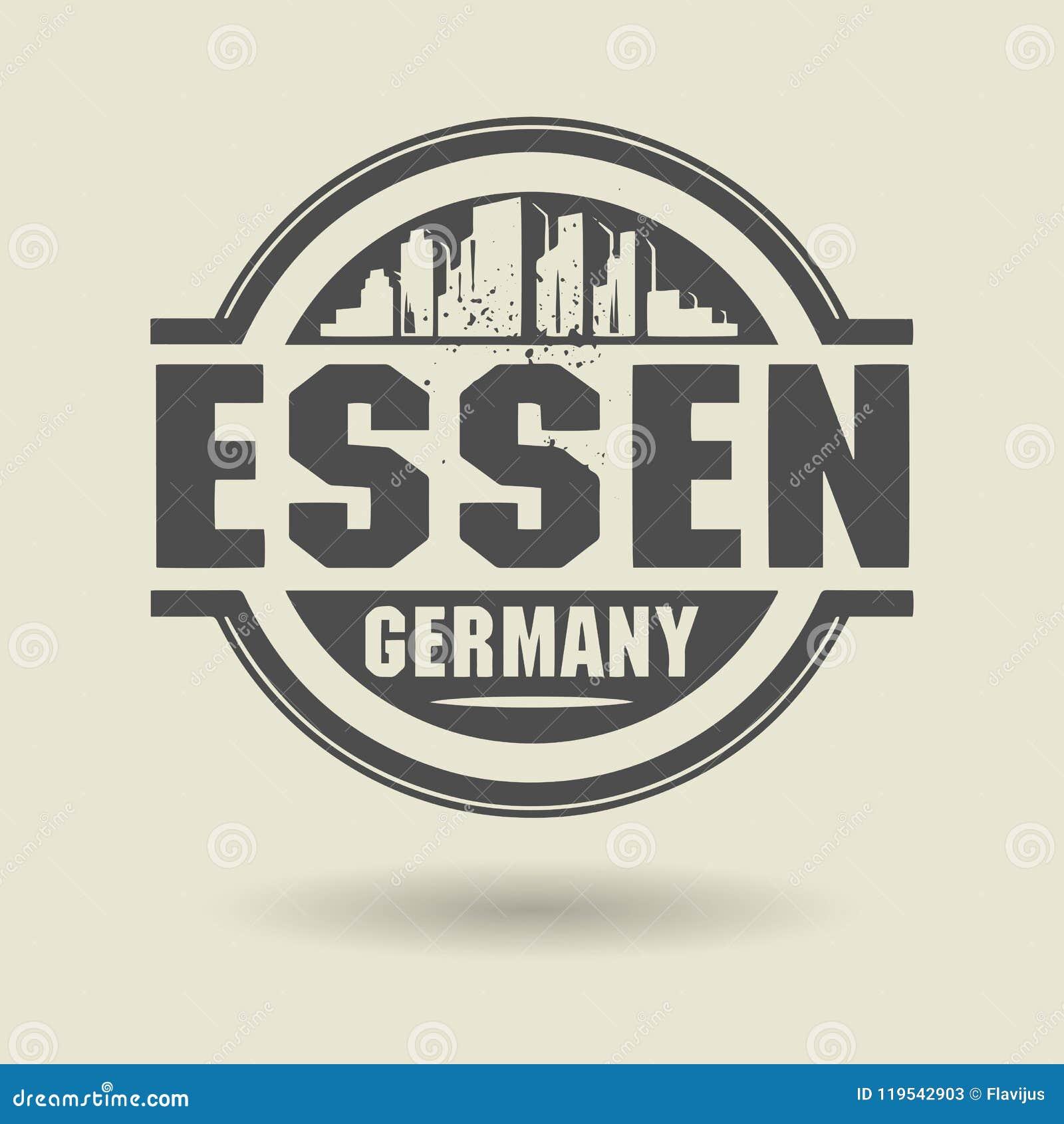 Emboutissez ou label avec le texte Essen, Allemagne à l intérieur