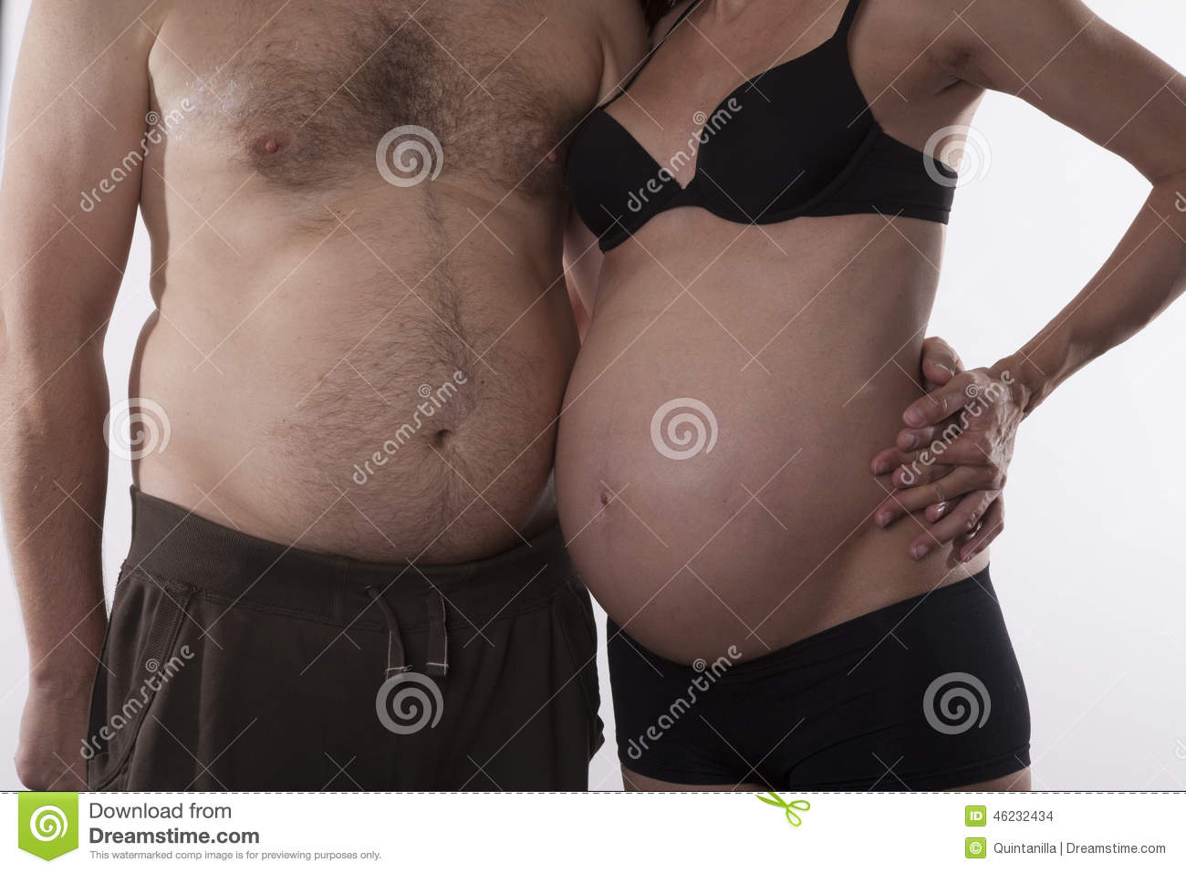embraced fat couple stock photo. image of maternity, belly - 46232434