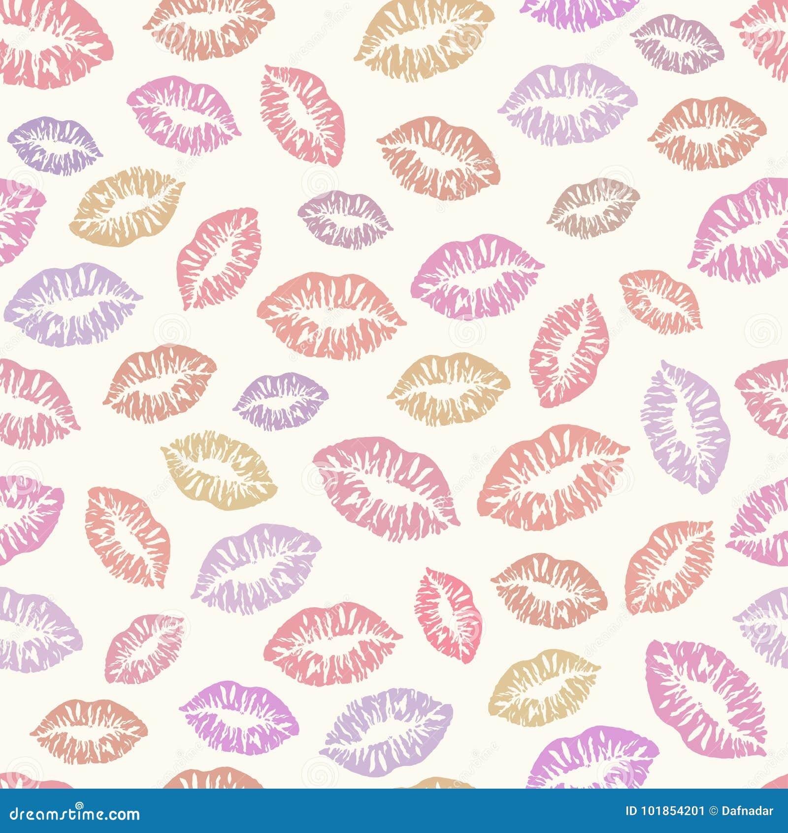 Embrasse Le Modèle Sans Couture De Fond Traces De Rouge à