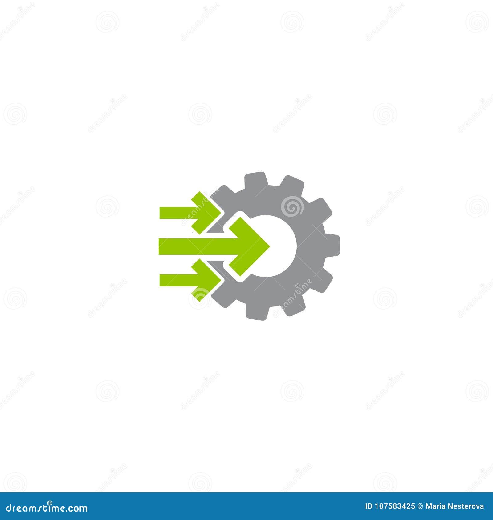 Embrayez et icône verte de trois bonne flèches d isolement sur le blanc Couleurs vertes et grises