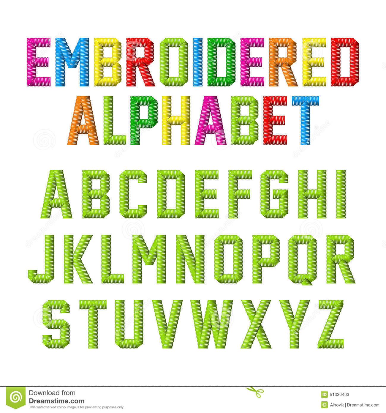 Embroidered alphabet stock vector image 51330403 for Embroidered alphabet letters