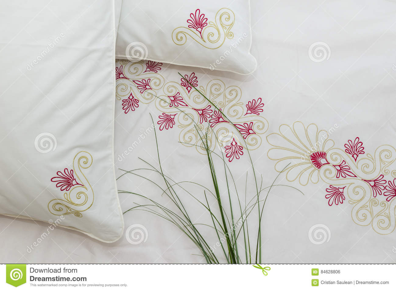 Download Embroidered bedding stock photo. Image of residential - 84628806