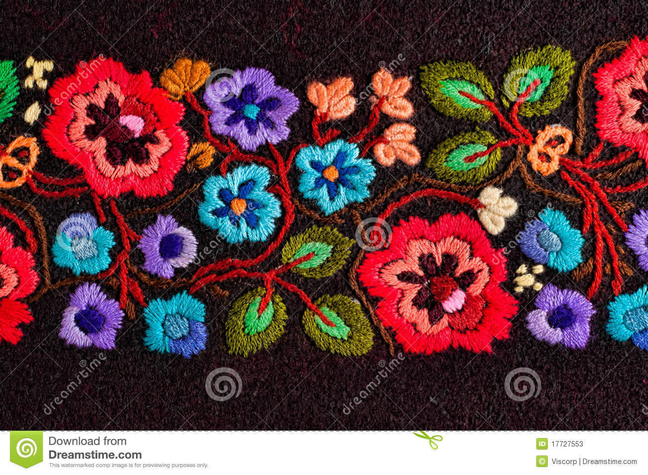 Embroidered flowers stock image of colorful cross