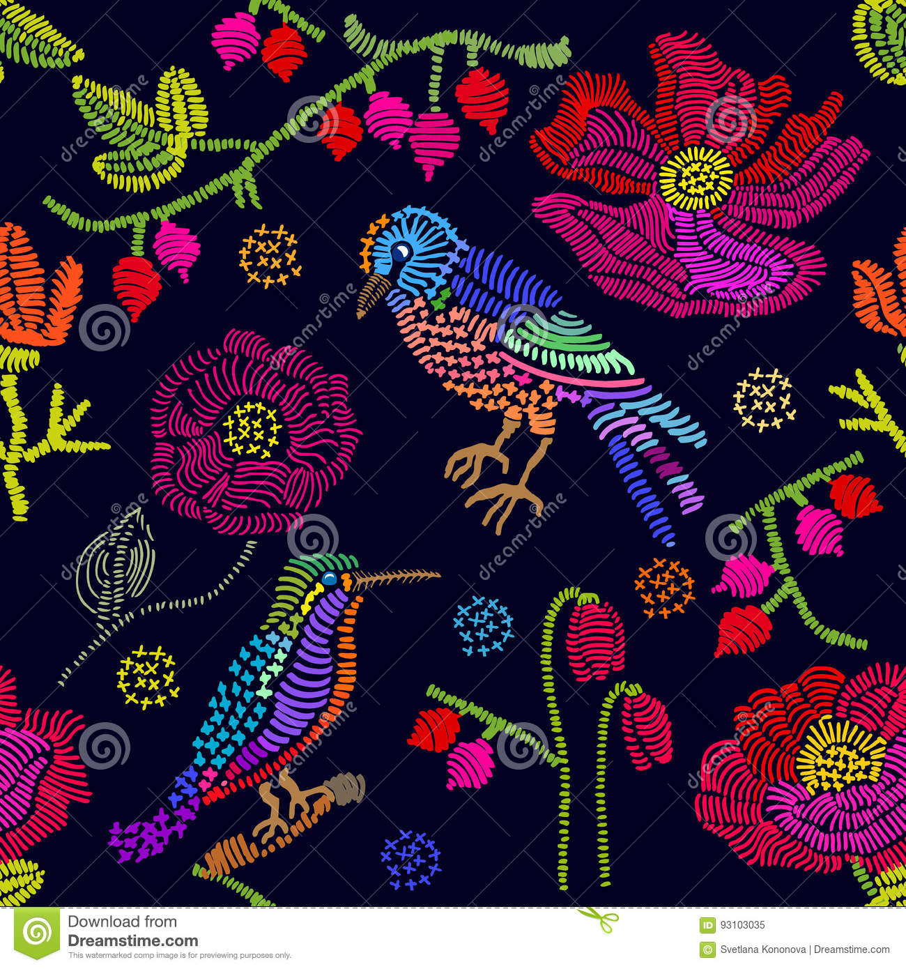 Flowers Made Black Brids: Embroidered Flowers And Birds On Black Background. Stock