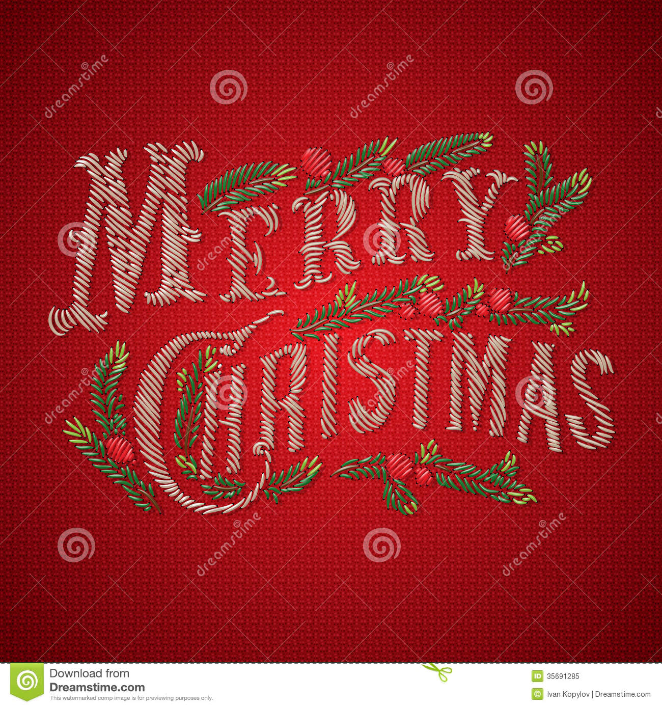 Embroidered Merry Christmas Card Stock Vector - Illustration of ...
