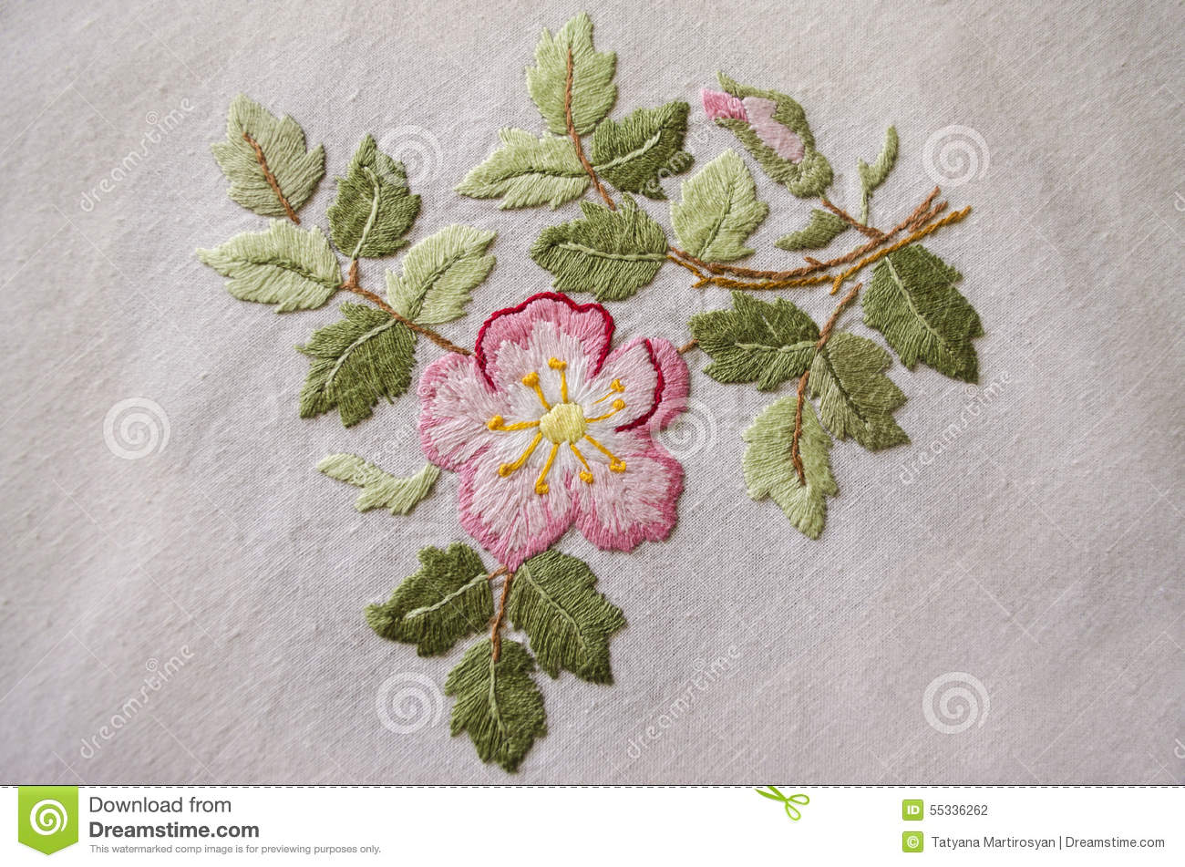 Embroidered Satin Stitch Pink Flower On Cotton Cloth Stock
