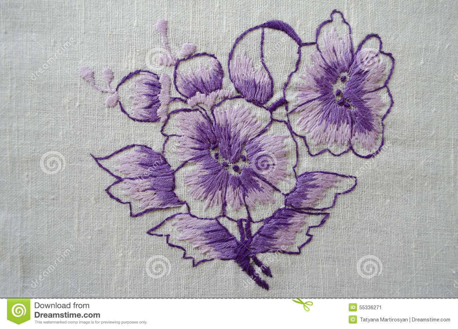 Embroidered Satin Stitch Purple Flower On Cotton Cloth Stock Illustration Illustration Of Object Cotton 55336271