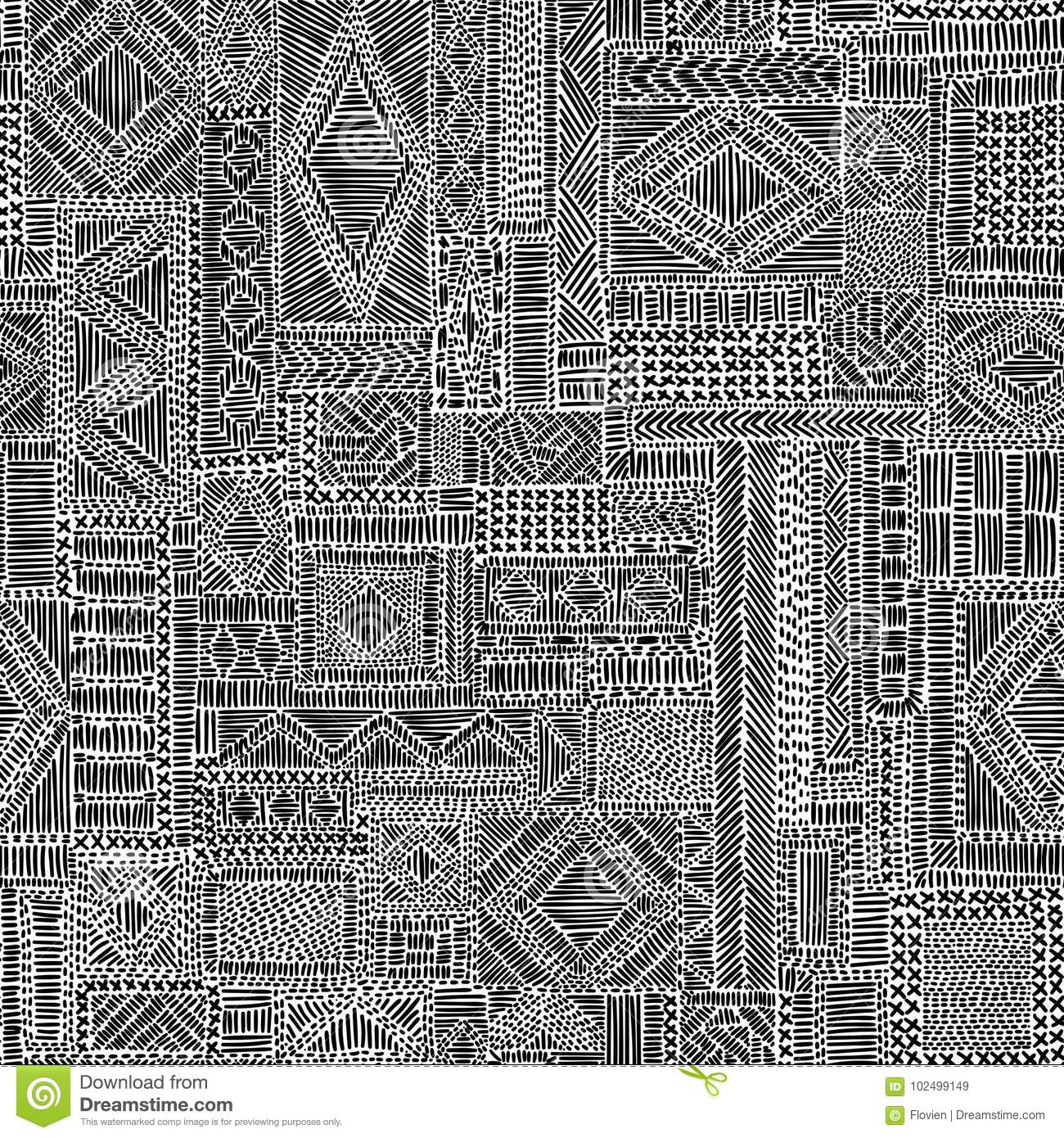 Embroidered seamless pattern. Black and white complex ornament.