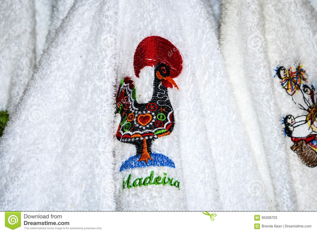 Embroidered Towel With The National Symbol Of Portugal The Cockerel