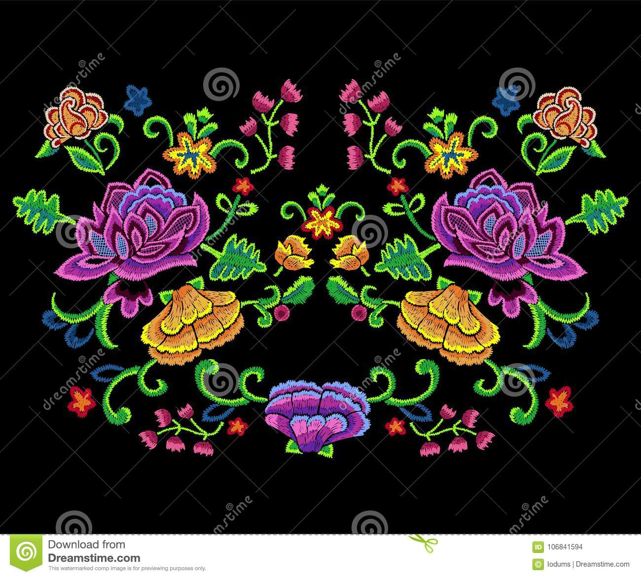 Embroidery botanical trend pattern with colorful simplify flowers.