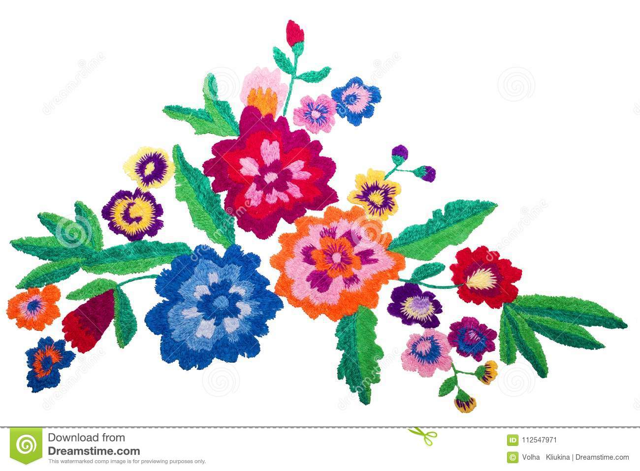 Embroidery bouquet flowers isolated on white background