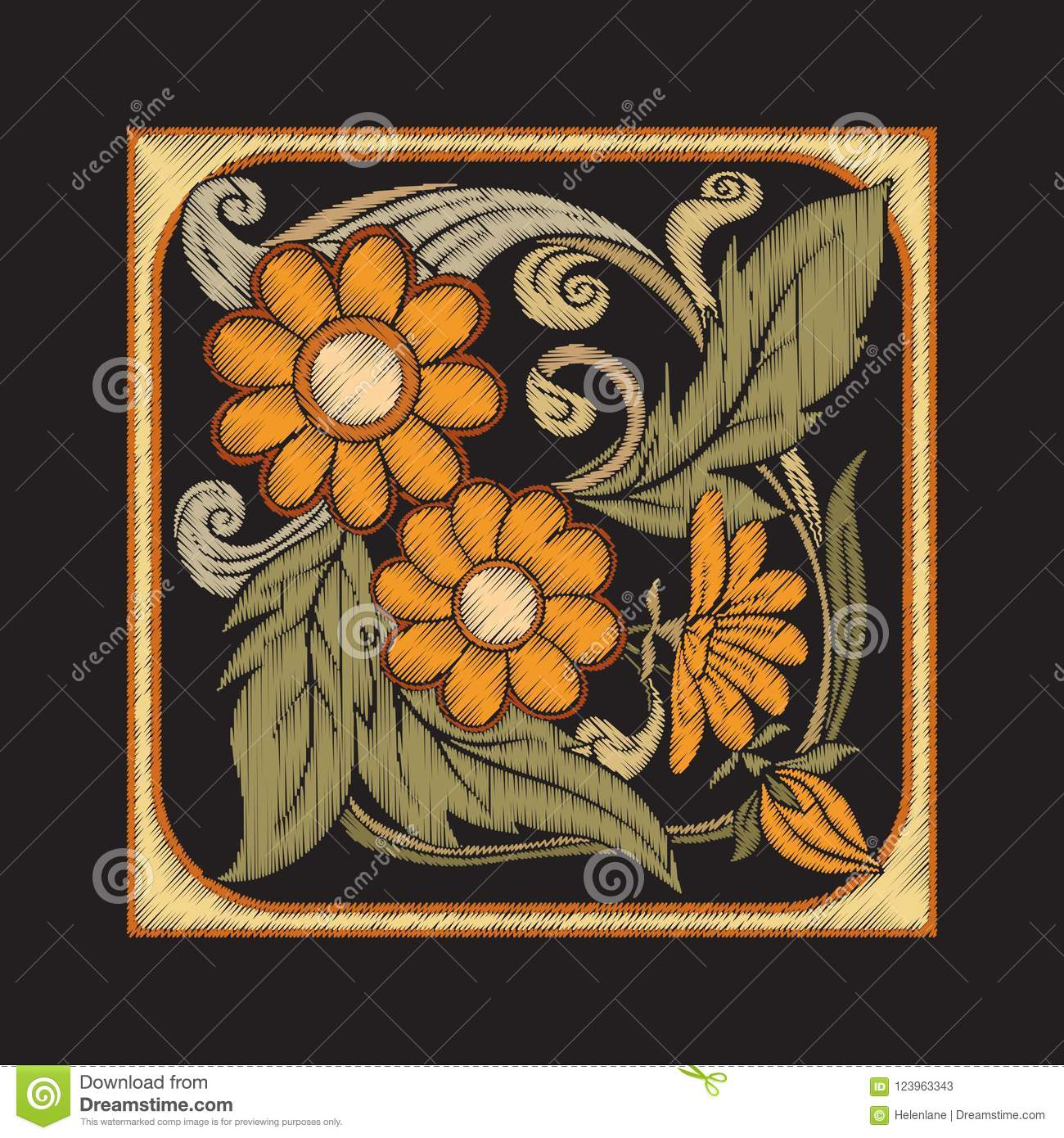Embroidery With Decorative Elements In The Style Of Ceramic Tile