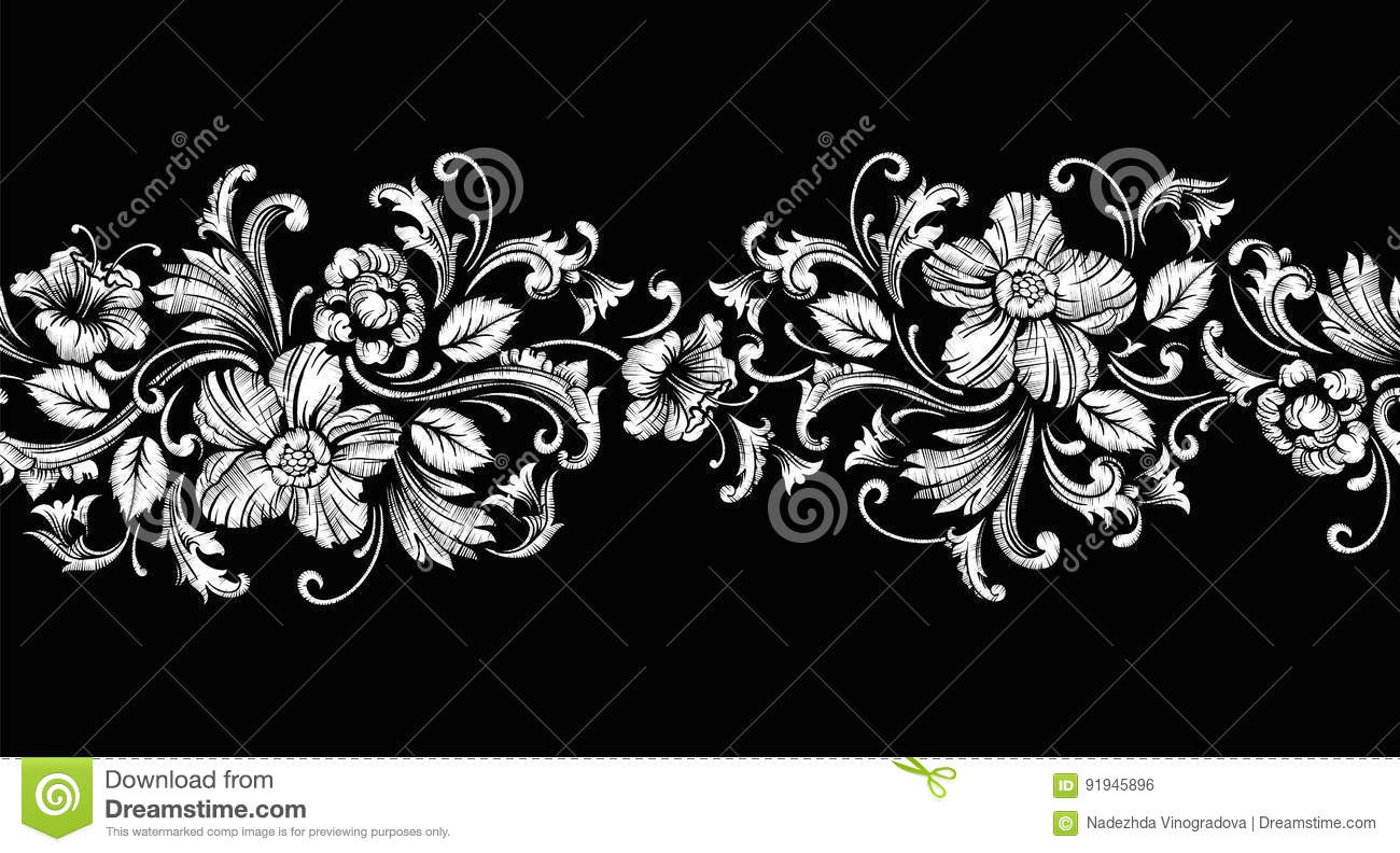 Embroidery Design In Baroque Style. Seamless Border. Vector Stock ...