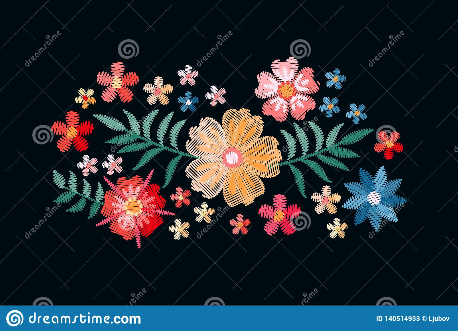 Embroidery Design With Beautiful Flowers And Leaves Colorful Bouquet Isolated On Black Background Satin Stitch In Vector Stock Vector Illustration Of Bouquet Flower 140514933