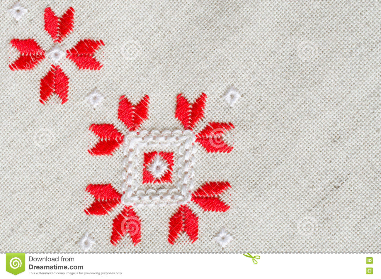 Embroidery Design By Red And White Cotton Threads On Flax. Christmas ...