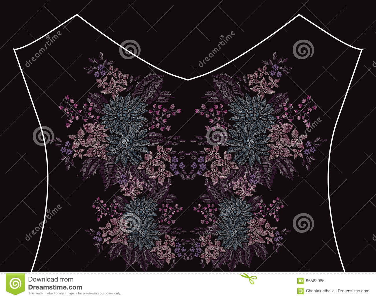Line Composition In Fashion Designing : Embroidery floral bouquet stock vector image