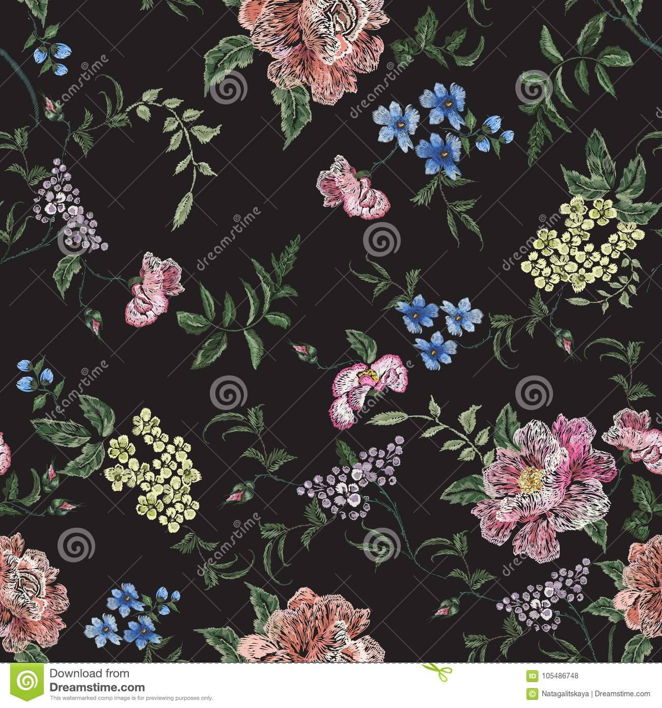 Embroidery floral seamless pattern with rose branch, violets.