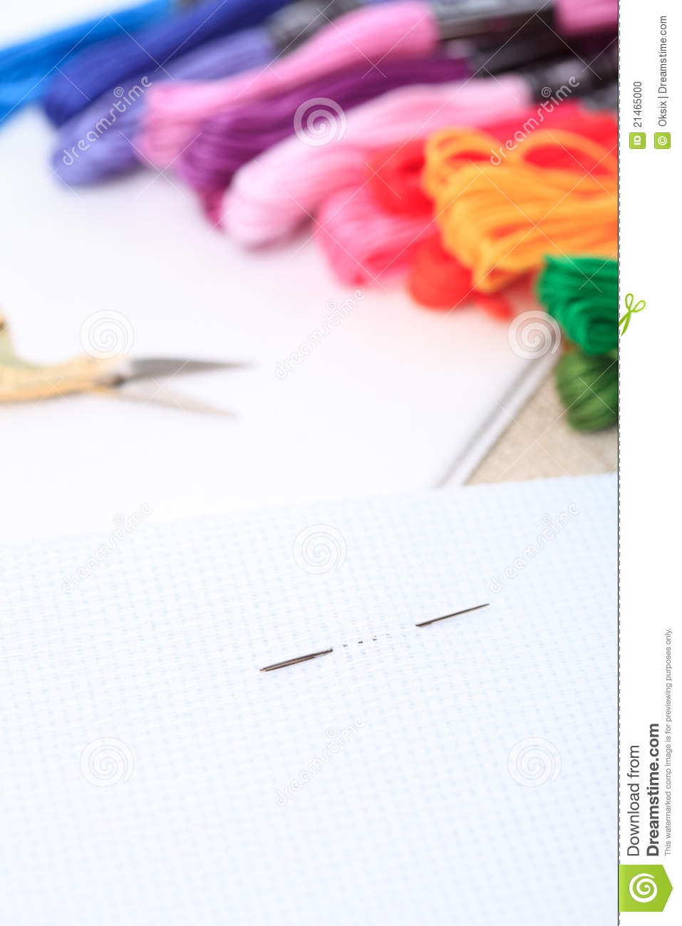 Embroidery Floss And Needle Stock Photo - Image 21465000