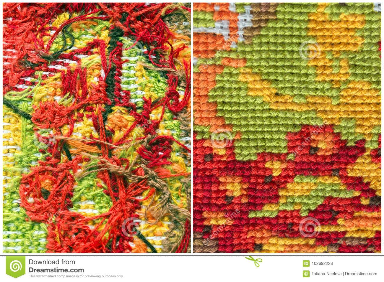Embroidery, Handmade Needlework Stitches  The Photo Of The