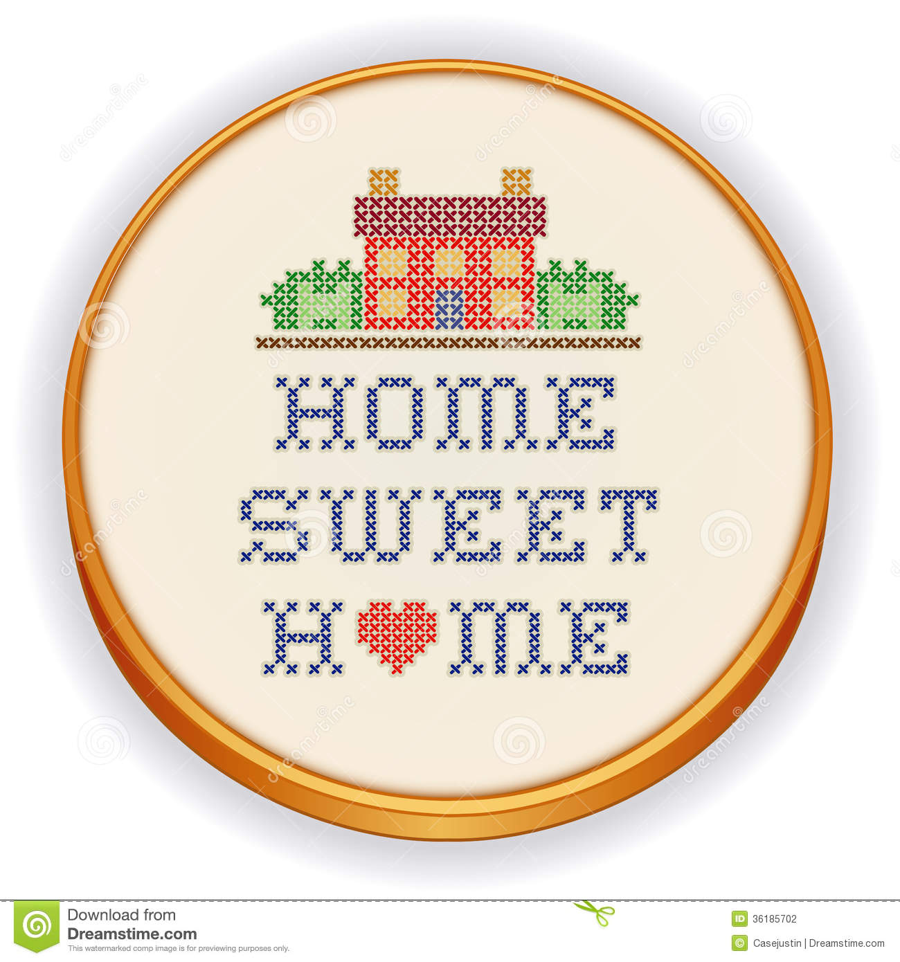 embroidery home sweet home cross stitch stock photography