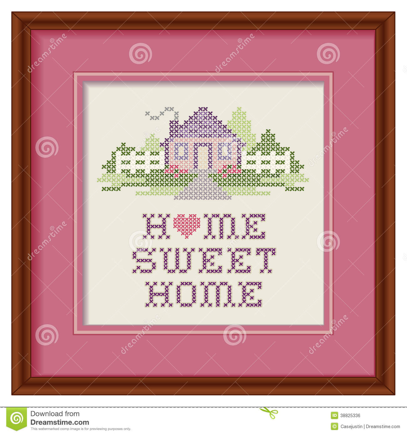 Embroidery Home Sweet Home Cross Stitch Wood Frame. Mahogany Wood Picture  Frame With Cross Stitch