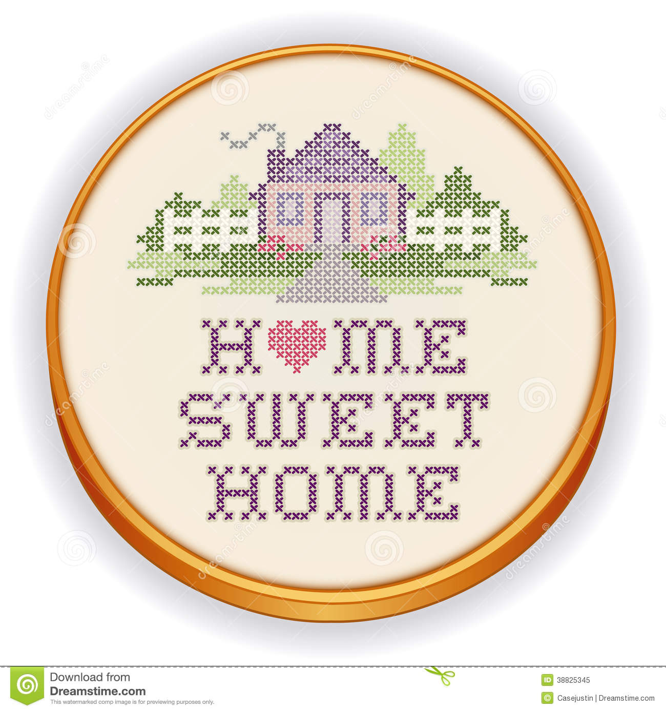 Embroidery Home Sweet Cross Stitch Wood Hoop Stock