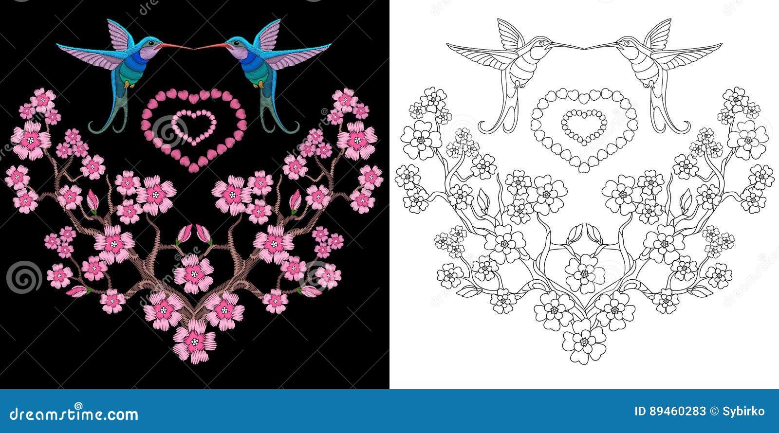 Embroidery hummingbird and sakura design