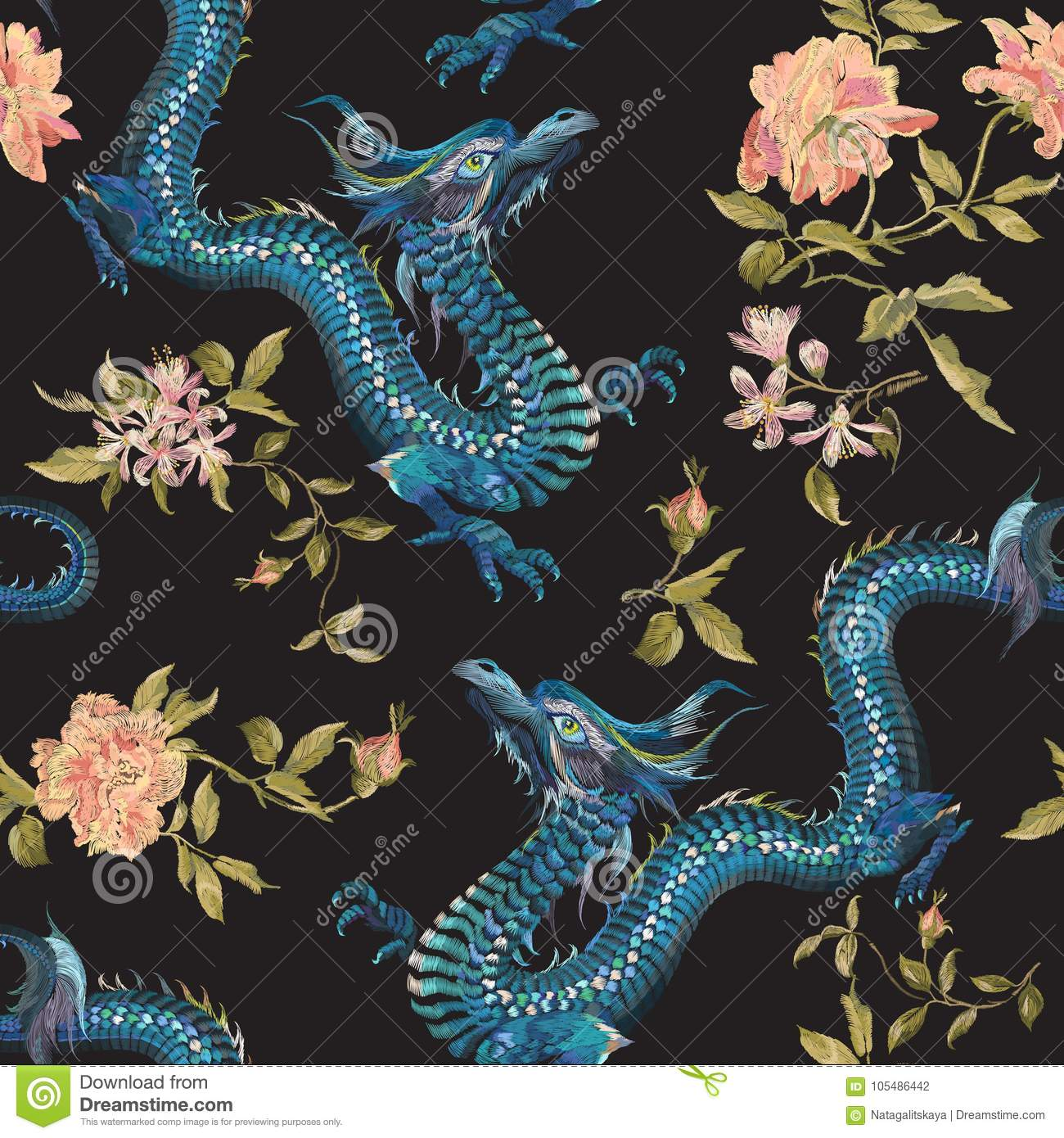 Embroidery oriental floral pattern with dragons and gold roses.