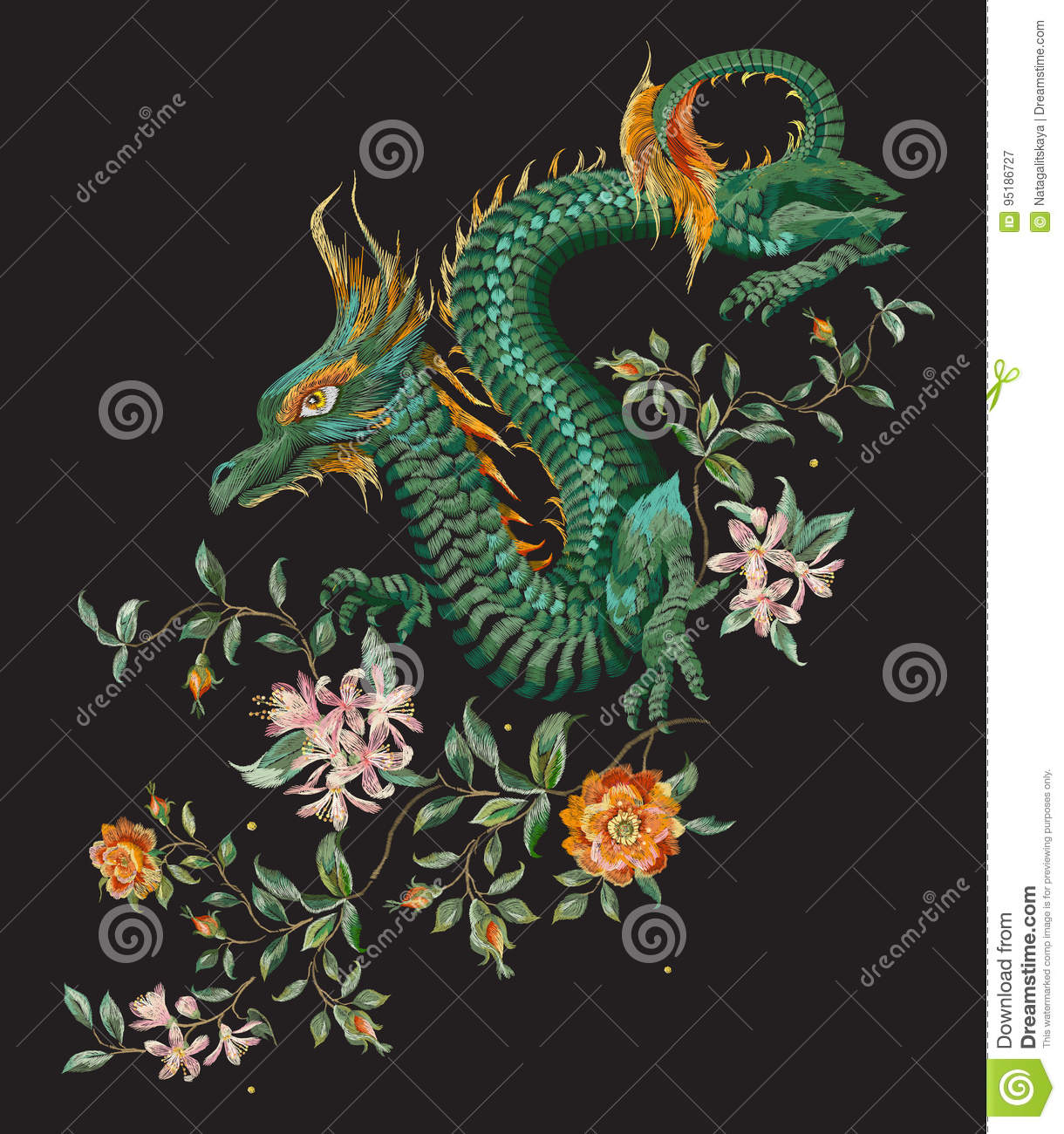 Download Embroidery Oriental Floral Pattern With Green Dragon And Gold Ro Stock Vector - Illustration of foliage, gold: 95186727