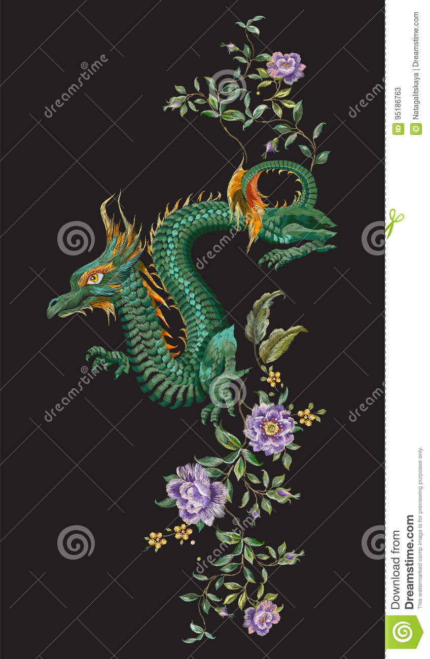 Download Embroidery Oriental Floral Pattern With Green Dragon And Roses. Stock Vector - Illustration of oriental, bright: 95186763